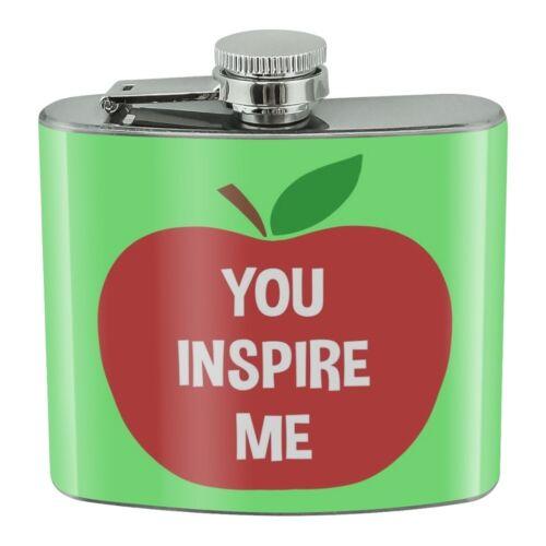 You Inspire Me Teacher Apple Stainless Steel 5oz Hip Drink Kidney Flask