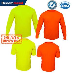 Hi-Vis-T-Shirt-Safety-Yellow-Orange-Non-ANSI-Long-Sleeve-Shirt-High-Visibilby