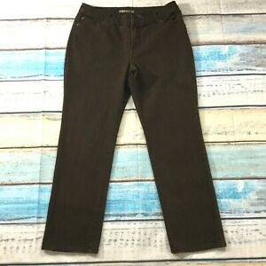 Chicos-Womens-Jeans-size-12-Short-x30-034-Brown-Straight-Leg-Pants-Cotton-Stretch