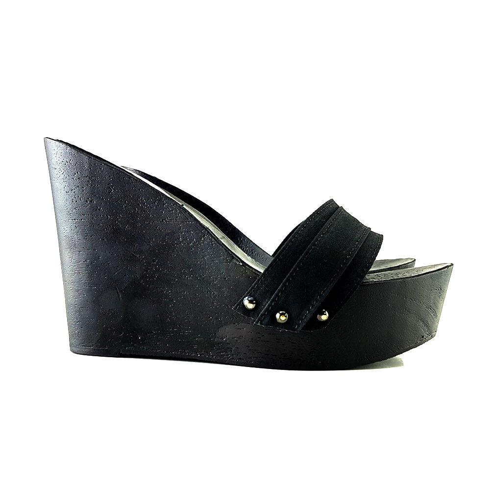 Holzschuhe - Keilabsatz schwarze - Holzschuhe Made in  35 al 41 - Absatz 13-KZ3501 4859d0