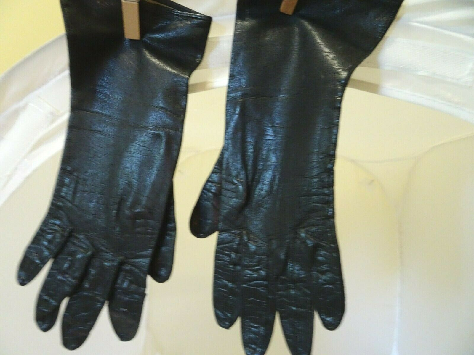 Vintage Dayne Taylor Black Leather Women's Hand Gloves 6?- Made In Italy