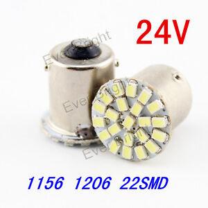 100 Pcs 24V S25 P21W 1141 1156 BA15S 1206 22SMD Car Turn Lamp Led Tail Lights