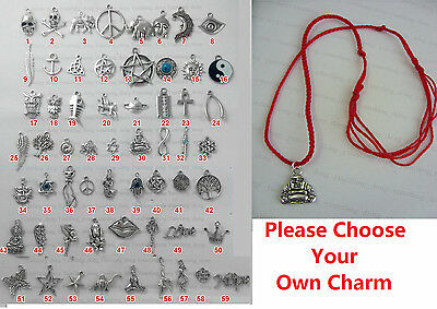 Red Cord Tibetan Silver Chinese Style Lucky Charm Pendant Necklace Choose Design