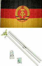 3x5 East Germany Flag White Pole Kit Set 3'x5'