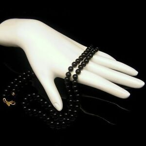 MONET-Vintage-Necklace-Knotted-Black-Glass-Beads-High-Quality-28-inches-Long