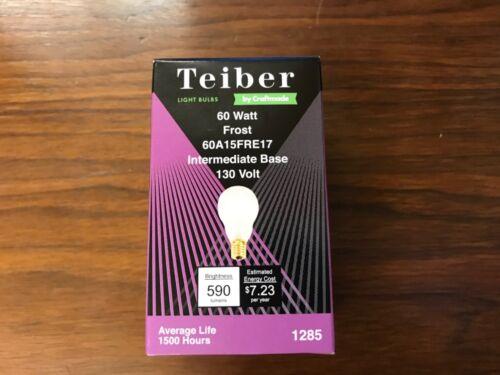 6 Teiber 60 Watt Frost 60A15FRE17 Intermediate Base 130 Volt Light Bulbs