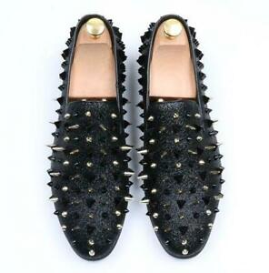 Mens-Spike-pointy-Toe-Punk-Studded-rivet-shoes-casual-dress-slip-on-Sz-Loafers