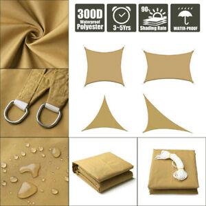 Sun-Shade-Sail-Outdoor-Patio-Top-Canopy-Cover-98-Anti-UV-Waterproof-Khaki-US
