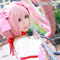 Puella Magi Madoka Magica Kaname Madoka Pink Anime Cosplay Wig + 2 Ponytails