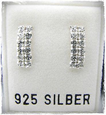 Nuovo Argento 925 Orecchini A Bottone Con Swarovski Pietre In Cristallo Chiaro Orecchini Creolen-