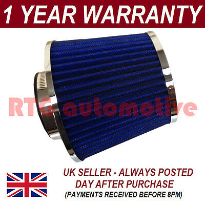BLUE & CHROME UNIVERSAL PERFORMANCE CONE INDUCTION KIT AIR FILTER WITH ADAPTORS