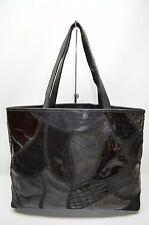 Braccialini Italian Leather Patchwork Top Zip Satchel Tote Purse ITALY