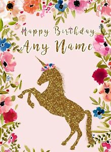 Image Is Loading Personalised Unicorn Birthday Card Daughter Granddaughter 1st 2nd
