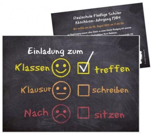 Klassentreffen Einladungskarte lustig für jede Schulart der Text ist änderbar!