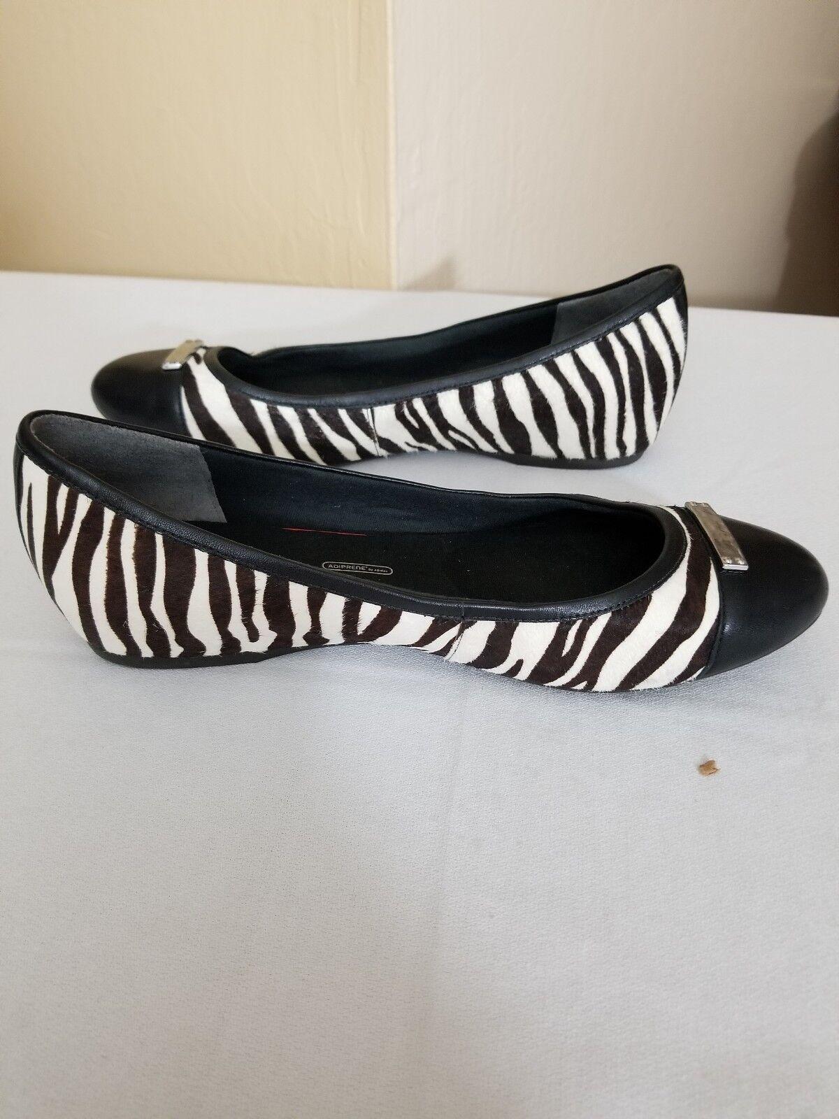 Rockport Women's Black & White Zebra Print Ballet shoes Size 8.5M 91218-1 A1