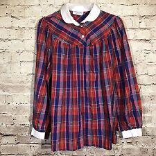 Maternity USA Women's Medium Shirt Long Sleeve Plaid Purple Red Blue