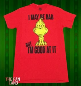 New Dr. Seuss How the Grinch Stole Christmas I may be Bad Mens ... b9c96ec61
