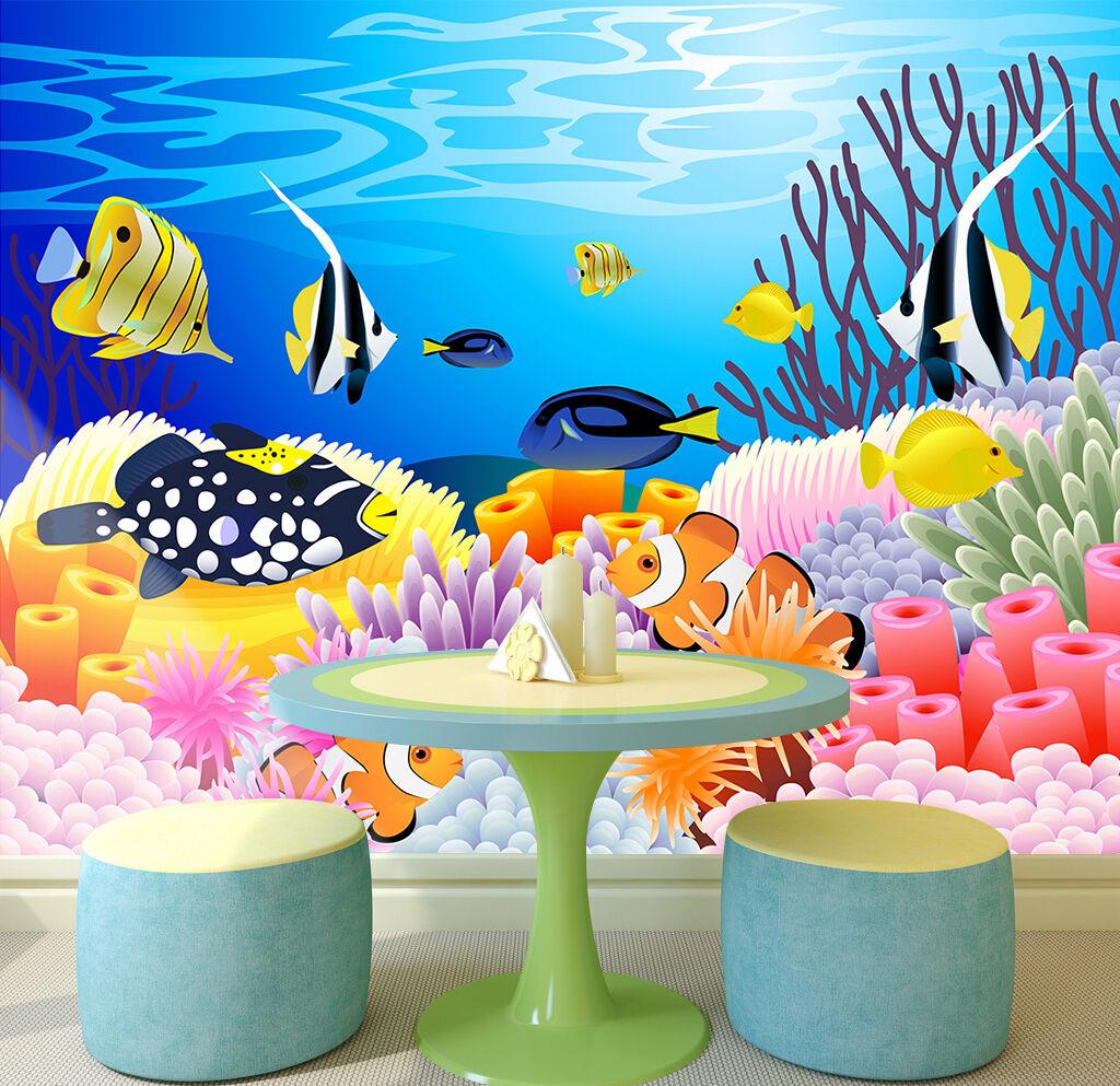3D Fisch, Koralle 577 Fototapeten Wandbild Fototapete Bild Tapete Familie Kinder | Verrückte Preis  | Hohe Qualität und geringer Aufwand  | Zürich