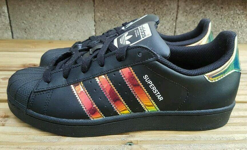 ADIDAS SUPERSTAR noir IRIDESCENT Taille TRAINERS Taille IRIDESCENT 4RARE STYLE VG CONDITION ef01a7