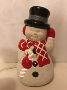 VTG-50-60-s-Ceramic-Art-Lighted-Happy-Frosty-The-Snowman-Christmas-Tree-Balls