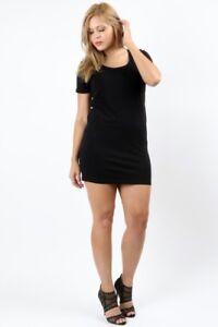 Women-039-s-Plus-Size-Short-Sleeve-Cotton-Bodycon-Mini-Dress