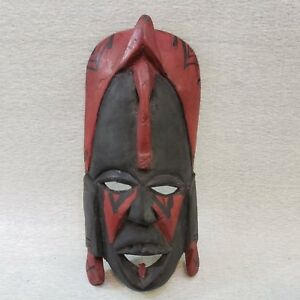 Vintage-African-Mask-Wall-Hanging-Dark-Wood-with-Red-Accents-Hand-Carved