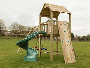 Details About Single Wooden Climbing Frame Two Tower Heavy Duty Jungle Gym Swings Tube Slide