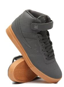 MENS-FILA-VULC-13-MID-PLUS-GRAY-GUM-SOLE-CLASSIC-HIGH-TOP-SNEAKERS-Size-9