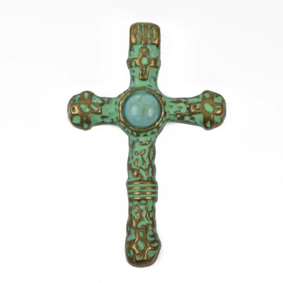 2 Silver and Turquoise CROSS Pendants silver w// turquoise cabs 40x25mm chs2470