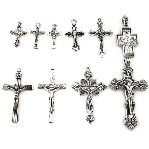 10PCS Vintage Alliage d/'Argent Jésus Pendentif Croix Foi religieuse Charmes 22397