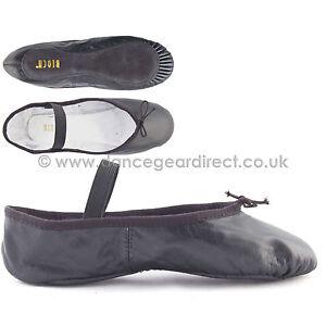 Bloch Cuero Negro Completo Suela Zapatos De Ballet Con adjunta elásticos surgir s0209