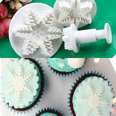 1Set Christmas Snowflake Fondant Cake Decorating Sugarcraft Cutter Plunger Mold