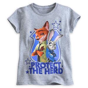 Disney-Store-Zootopia-Judy-Hopps-amp-Nick-Wilde-Girls-T-Shirt-Toddler-Size-4