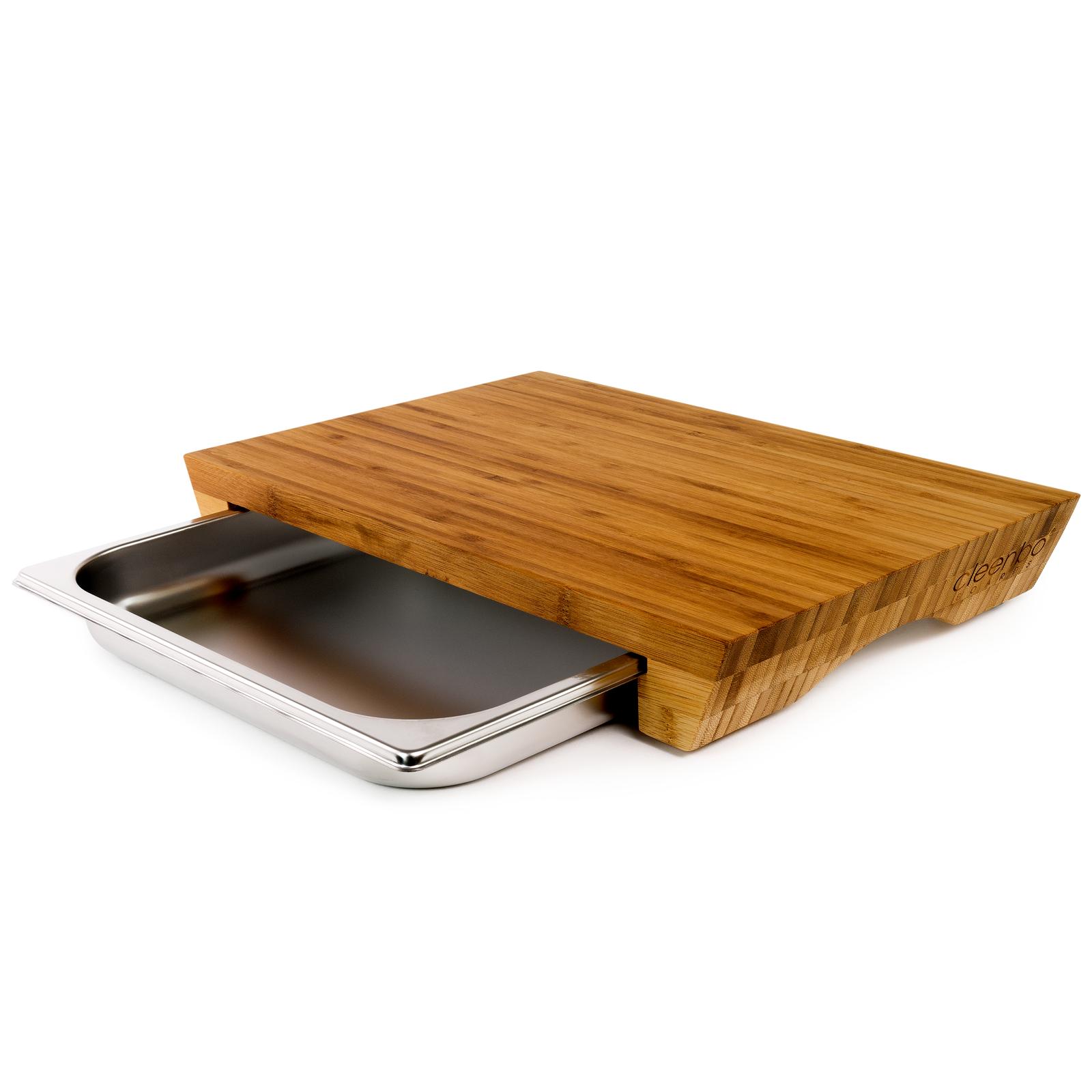 Cleenbo Schneidebrett Bambus style mit Auffangschale Auffangschale Auffangschale Küchenbrett mit Schublade 2ce314