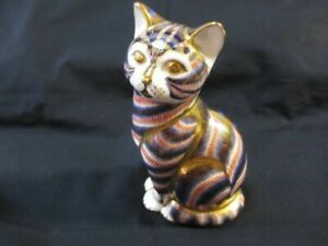Royal-Crown-Derby-Paper-Weight-IMARI-Sitting-Cat-Large-Size