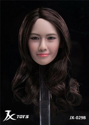 JXTOYS JX-029B 1//6 Beauty Asian Black Curls Girl Head Sculpt Fit 12/'/' Figure