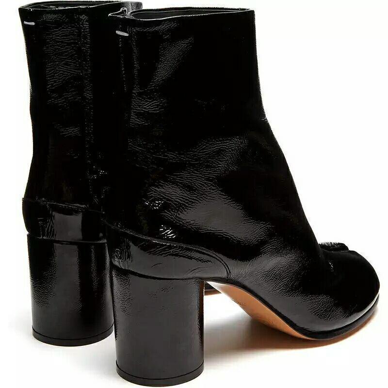 Women's Cow Patent Patent Patent Leather Black Chunky Heel Split Toe Knight Combat Boots shoes 35d77d