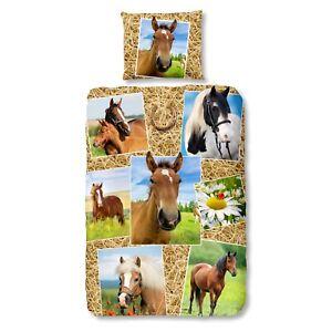 good-morning-Bettwaesche-5752-Horses-Pferde-Galerie-Hufeisen-Stroh-Marienkaefer