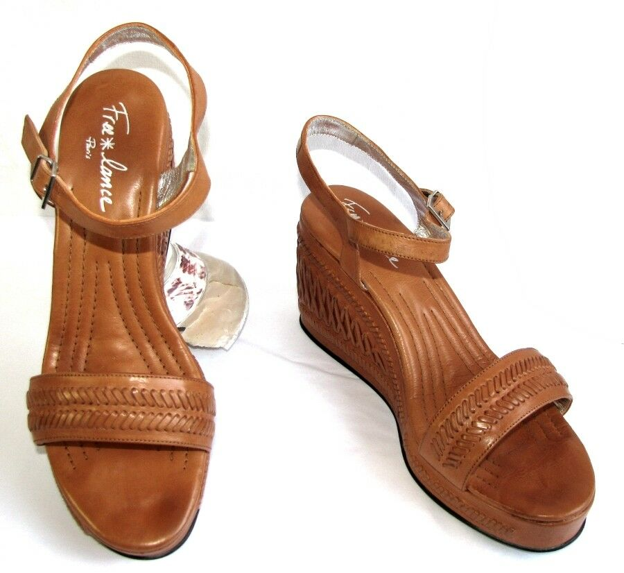 FREE LANCE Wedge sandals PYRO 7 brown leather cognac 40 MINT BOX