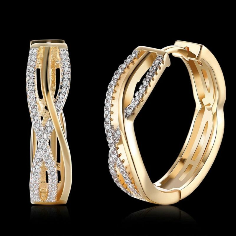 18k Real Gold Filled Hoop Earrings Made With Clear Swarovski Crystals Gift Gf15