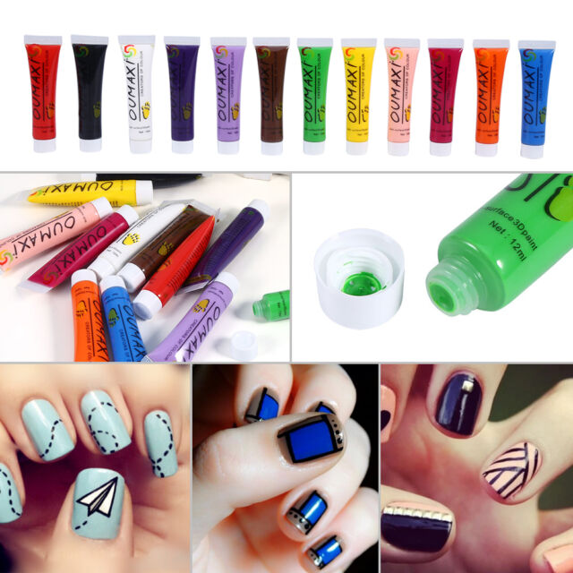 12 Colours Women Acrylic Paint Nail Art 3d Painting Pigment Design