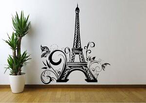 Torre Eiffel Fiori Adesivo Parete Parigi Decalcomania Murale Stencil stampa in vinile WSD671
