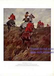 Bergauf Reitjagd XL Kunstdruck 1929 von Angelo Jang * † München Pferde Jagd
