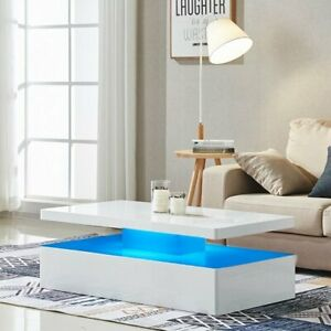 Details About Quinton Modern Coffee Table In White High Gloss With Led