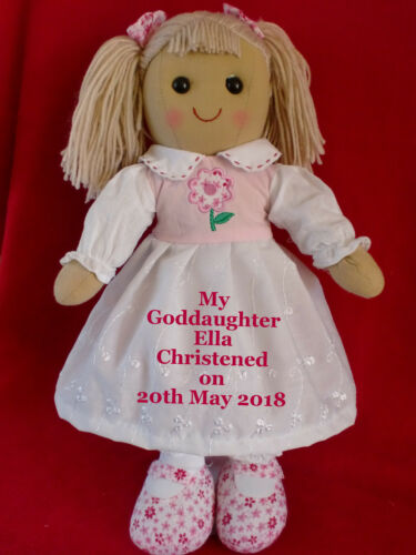 Personalised Rag Doll Goddaughter Granddaughter Christening 1st Communion Gift 2