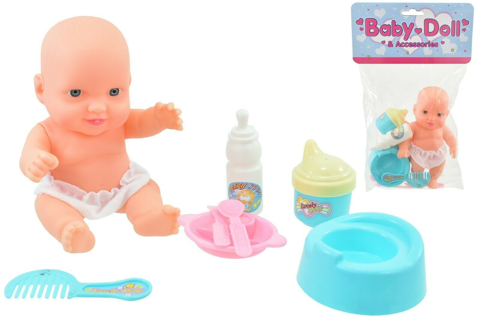 New Born Baby Doll Toy Kids Interactive Girls Play Set In Polybag W/Accessories