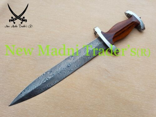 """Collectible Daggers AMAZING 14"""" DAMASCUS ROSE WOOD HANDLE HANDMADE SWISS DAGGER WITH STEEL GUARDS"""