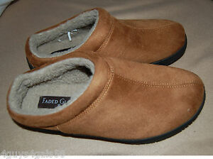mens shoes low back slip on casual clog mock suede sherpa