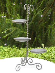 Miniature-Dollhouse-FAIRY-GARDEN-Furniture-Rustic-Iron-3-Shelf-Plant-Stand-NEW