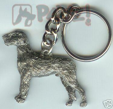 Key Ring with Dog USA Solid Keychain Scottish Deerhound Keyring Silver Plated